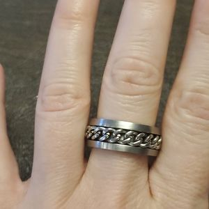 Unisex solid silver tone ring